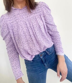 Long-Sleeve Floral Top for Spring