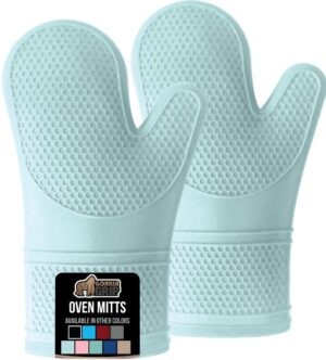 Mint Green Silicone Oven Mitts
