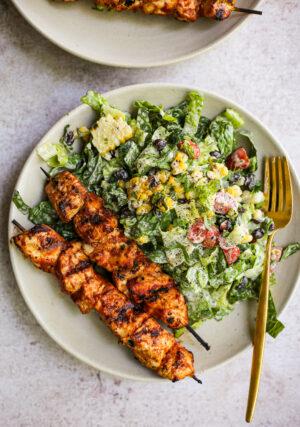 Defined Dish BBQ Chicken Skewer Salad